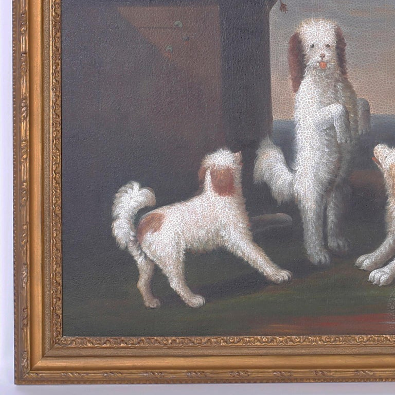 Hand-Painted Oil Painting on Canvas of Four Dogs For Sale