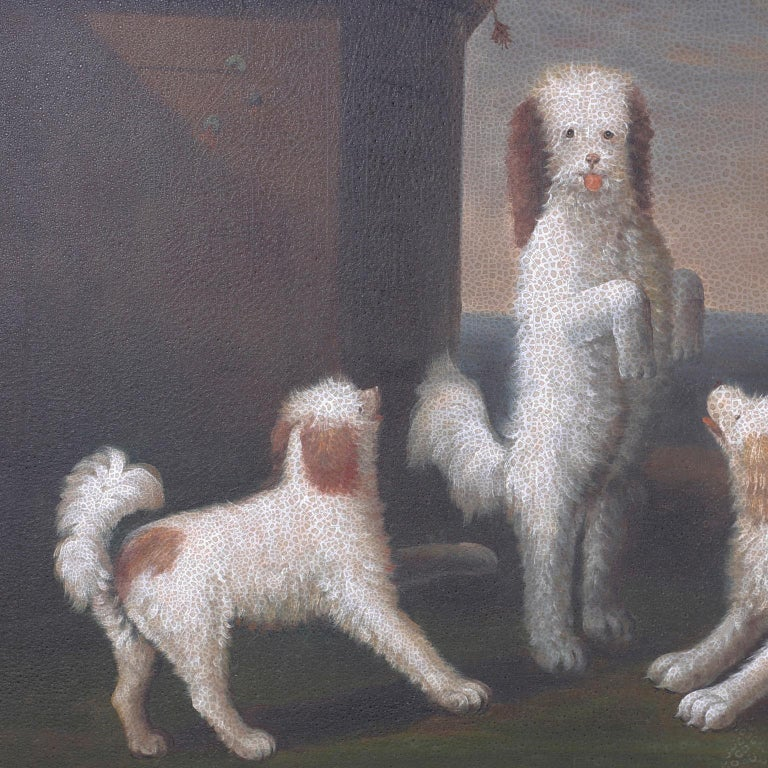 Oil Painting on Canvas of Four Dogs In Good Condition For Sale In Palm Beach, FL