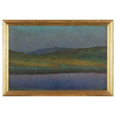 Oil Painting on Canvas of Twilight over Landscape by Unknown Artist