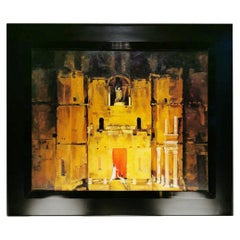 20th Century Oil Painting on Canvas Theater Scenery, France, 1965-1970