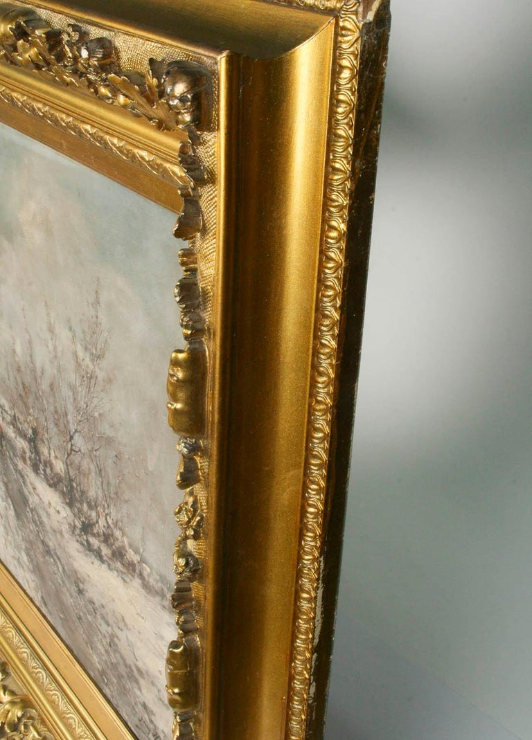 Oil Painting on Canvas, Winterlandscape by Jean Hill, Belgium, Late 19th Century For Sale 6