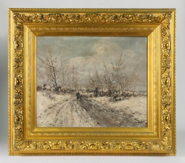 Powerful painting, winter landscape with small figures, painted by Jean Hill. He was a Flemish painter who lived in the 19th century in the city of Ostend. He painted landscapes, cityscapes and beach scenes.  The painting is made of plaster on