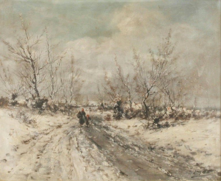 Romantic Oil Painting on Canvas, Winterlandscape by Jean Hill, Belgium, Late 19th Century For Sale