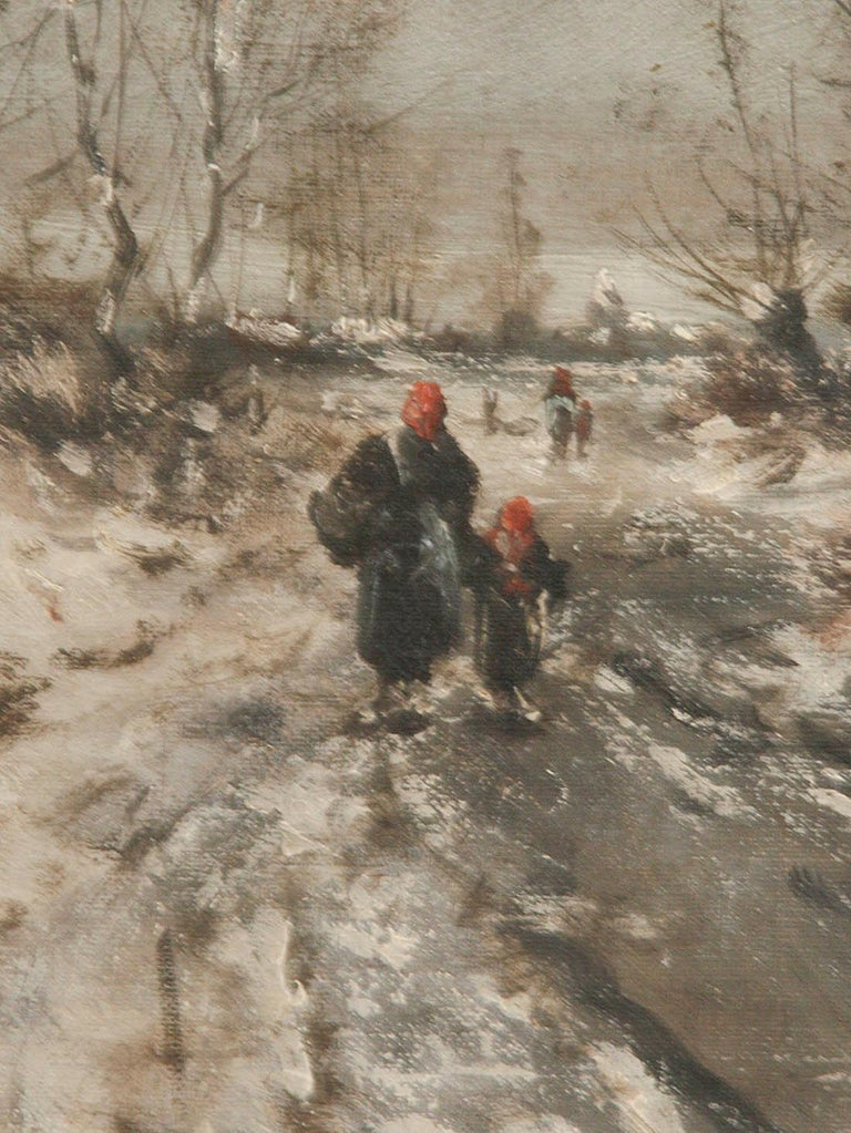 Hand-Painted Oil Painting on Canvas, Winterlandscape by Jean Hill, Belgium, Late 19th Century For Sale