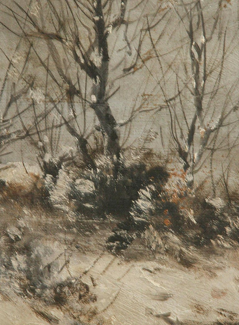 Oil Painting on Canvas, Winterlandscape by Jean Hill, Belgium, Late 19th Century For Sale 1