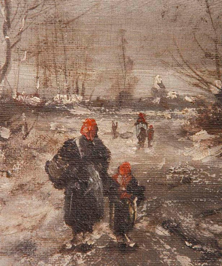 Oil Painting on Canvas, Winterlandscape by Jean Hill, Belgium, Late 19th Century For Sale 3