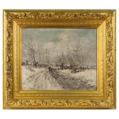 Oil Painting on Canvas, Winterlandscape by Jean Hill, Belgium, Late 19th Century