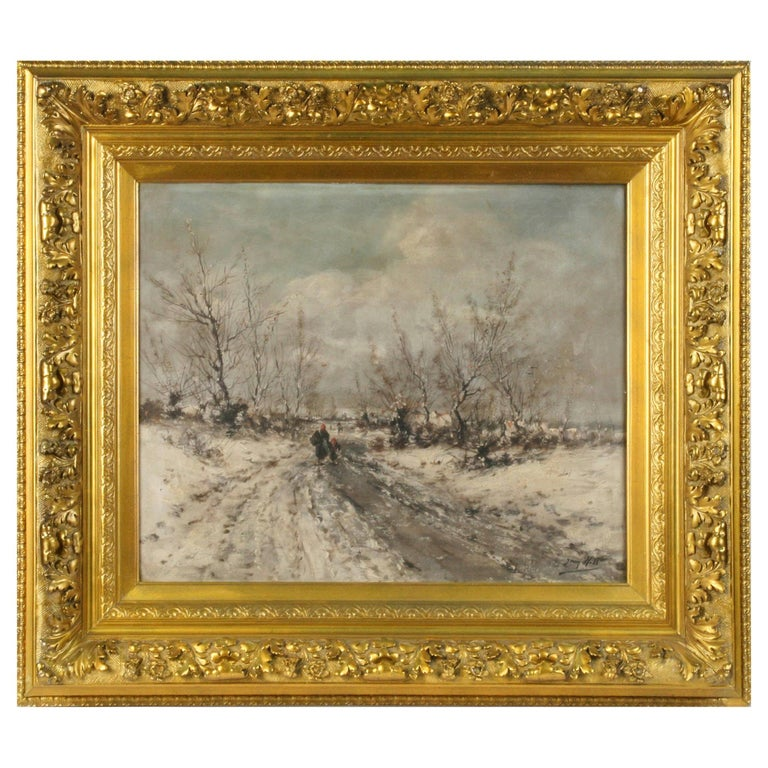 Oil Painting on Canvas, Winterlandscape by Jean Hill, Belgium, Late 19th Century For Sale