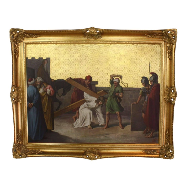 Oil Painting on Copper Plate of the Third Station of the Cross, circa 1920