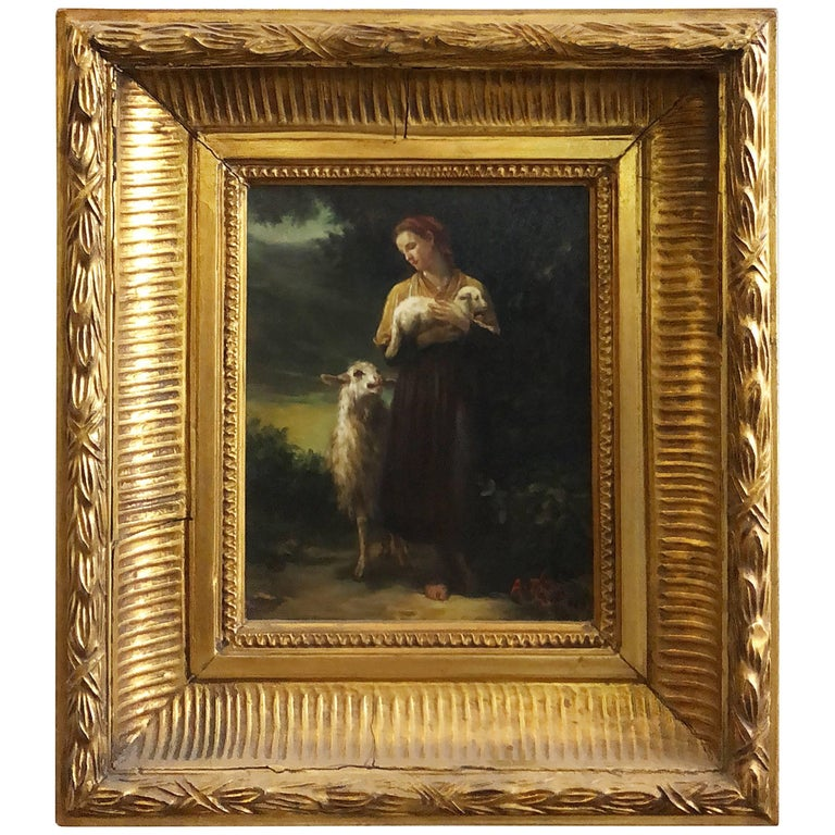 "Oil Painting on Wood ""the Shepherdess"" William-Adolphe Bouguereau For Sale"