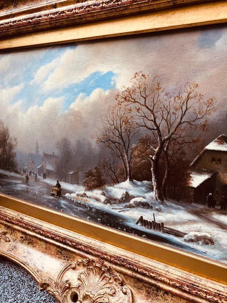 Romantic Oil Painting on Wood Winter Landscape by Pannet, 19th Century For Sale