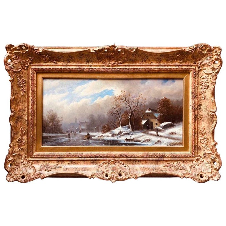 Oil Painting on Wood Winter Landscape by Pannet, 19th Century For Sale