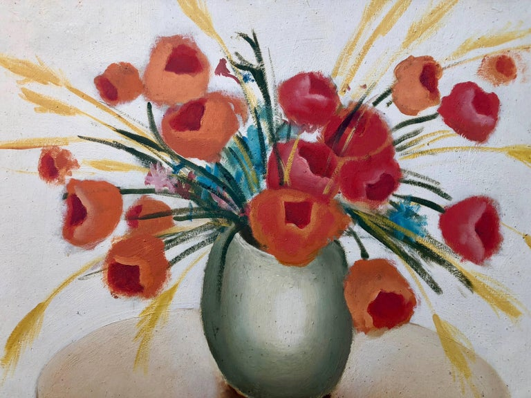 Oil Painting On Wood With Red Flowers In A Vase On A Table By