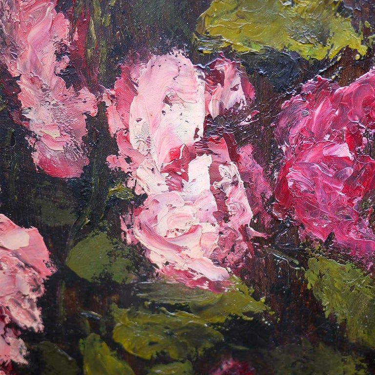 Oiled Oil Painting, Pink Roses, Dario De Pedrinis, 1961 For Sale