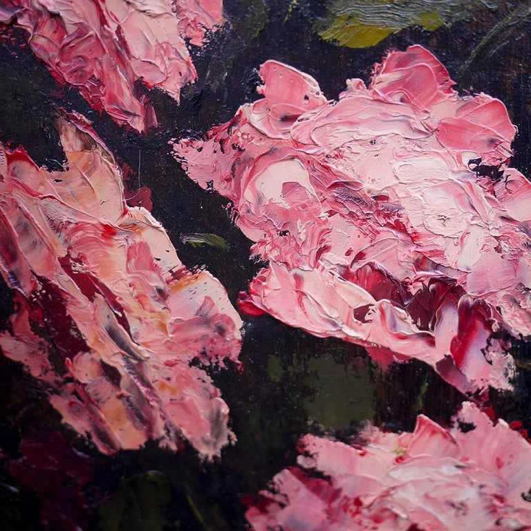 Oil Painting, Pink Roses, Dario De Pedrinis, 1961 In Good Condition For Sale In Albignasego, IT