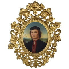 Oil Painting Portrait of Francesco Delle Opere by Pietro Perugino Carved Frame