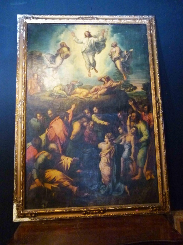 Oil painting reproduction of Raphael's the transfiguration.  The transfiguration is the last painting by the Italian High Renaissance master Raphael. From the late 16th-early 20th century, it was said to be the most famous painting in the