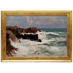 Oil Painting Rocky Coast Oil on Wood Alfred Zoff, Austrian, circa 1900