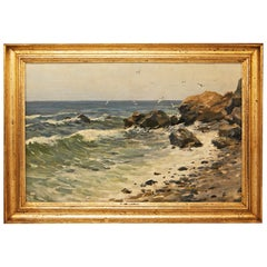 Oil Painting Rocky Coast Oil on Wood Alfred Zoff Austrian, circa 1900
