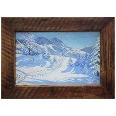 Oil Painting, Snowy Alpine Landscape, 1910s