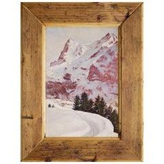 Oil Painting, Snowy Landscape Alps, G. Lindenmayer