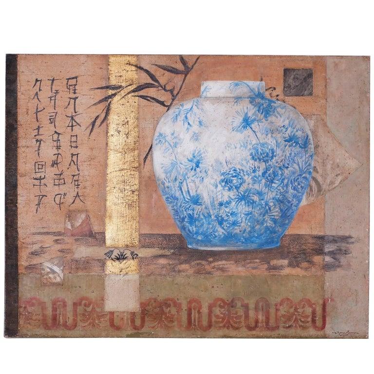 Oil Painting Still Life Collage on Burlap