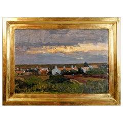 Oil Painting, Village Landscape by Alfred Zoff, Austria, Around 1900