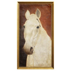 Oil Painting, White Horse, Amati