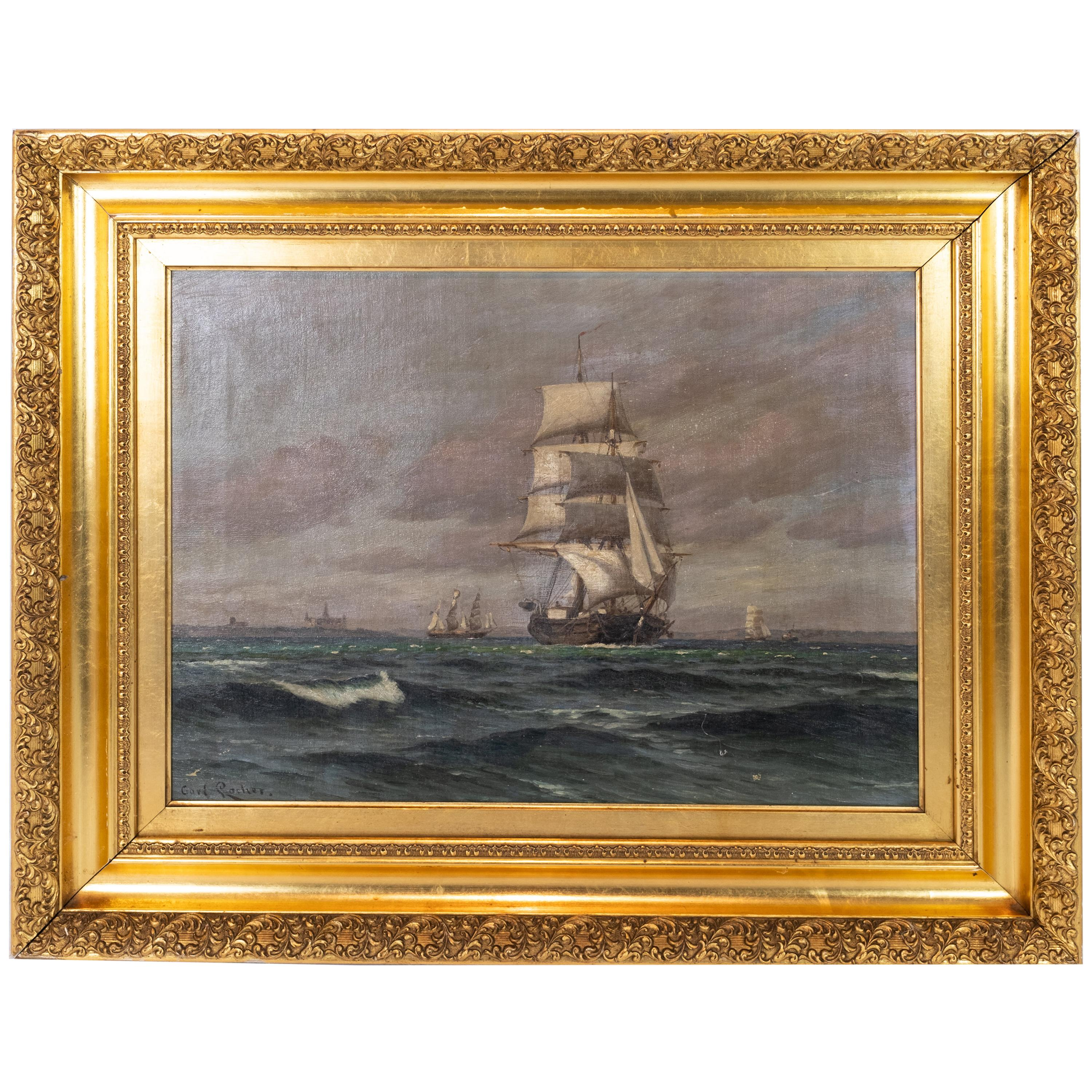 Oil Painting with Marine Motif with Gilded Frame Signed Carl Locher