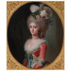 Oil Portrait, French 18th Century of an Austrian Princess, 1783