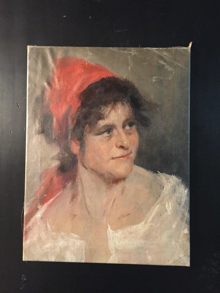 Oil portrait gypsy woman circa 1900 canvas.