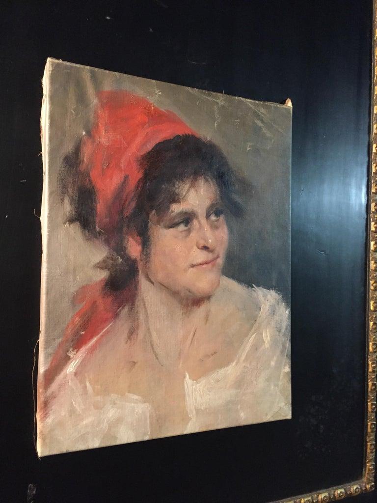 Biedermeier Oil Portrait Gypsy Woman circa 1900 Canvas For Sale