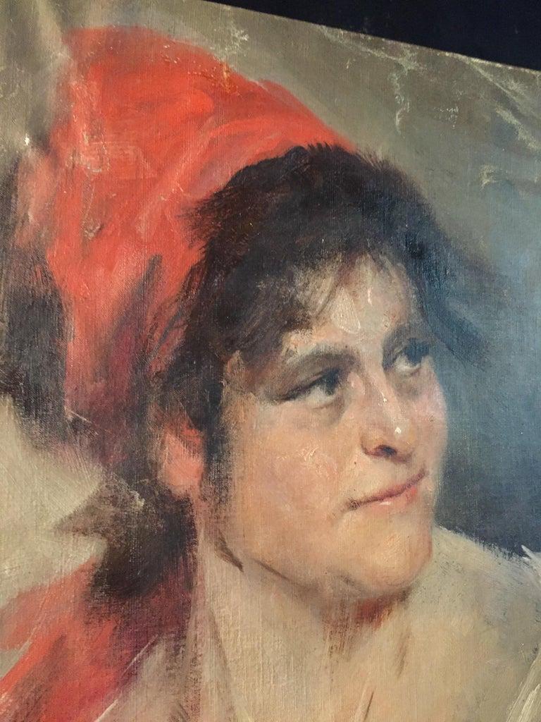 German Oil Portrait Gypsy Woman circa 1900 Canvas For Sale