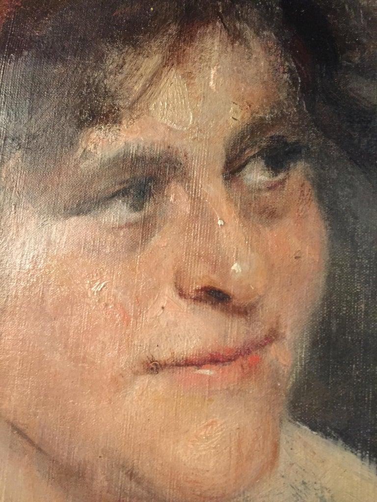 Oil Portrait Gypsy Woman circa 1900 Canvas In Good Condition For Sale In Berlin, DE