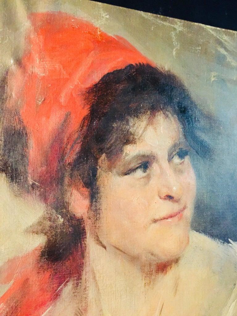 19th Century Oil Portrait Gypsy Woman circa 1900 Canvas For Sale