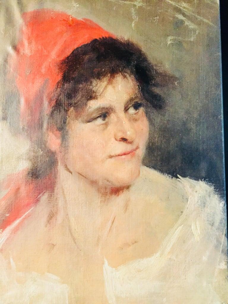 Oil Portrait Gypsy Woman circa 1900 Canvas For Sale 1