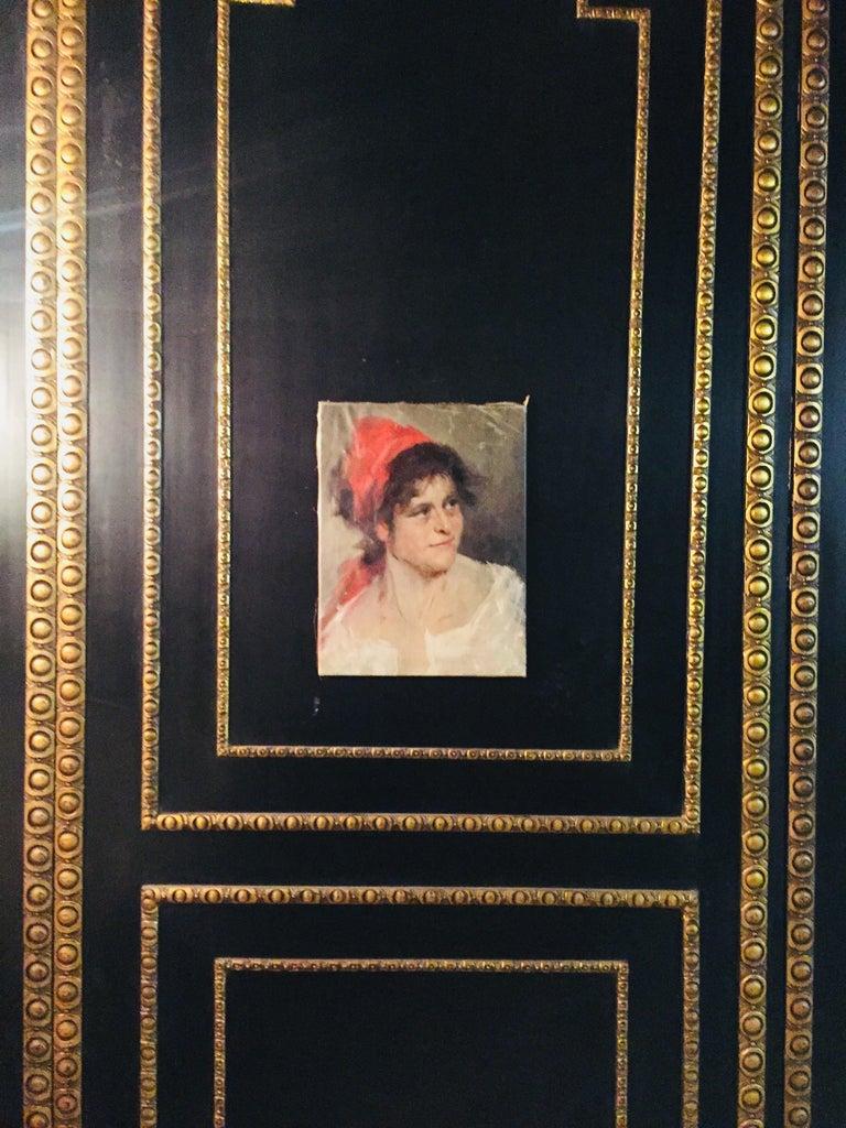 Oil Portrait Gypsy Woman circa 1900 Canvas For Sale 2