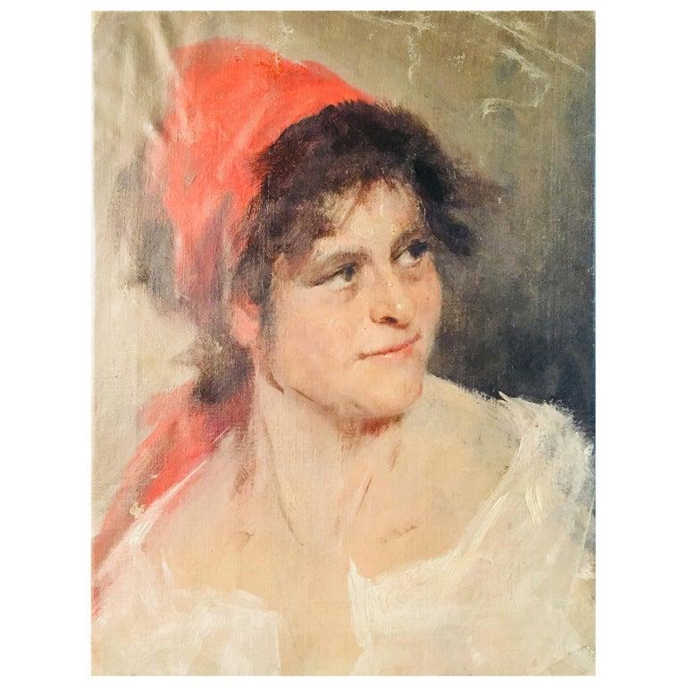 Oil Portrait Gypsy Woman circa 1900 Canvas For Sale