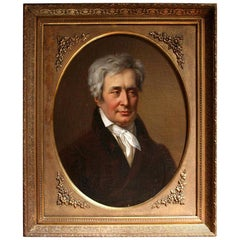 Oil Portrait Painting of a Count in Ornate Gilded Frame, 19th Century