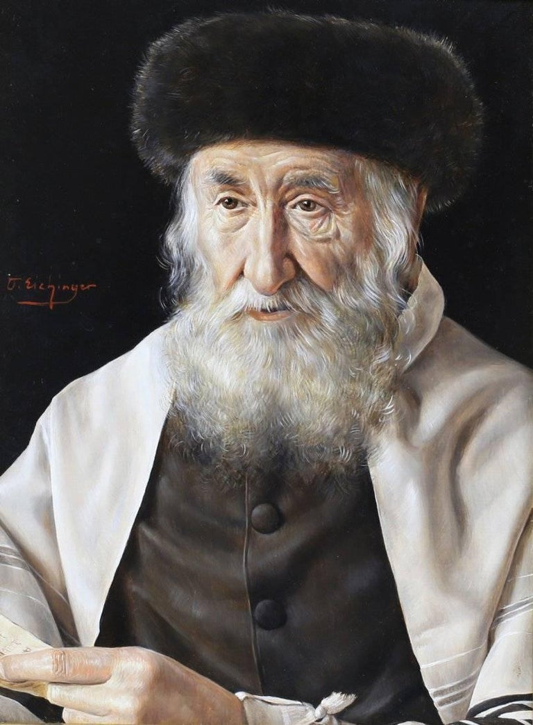 A strikingly realistic oil on panel painting by Austrian painter Otto Eichinger (1922-2004) depicting a regal Rabbi in deep thought, perhaps contemplating the document in hand.   The artist is most known for his realistic and finely detailed