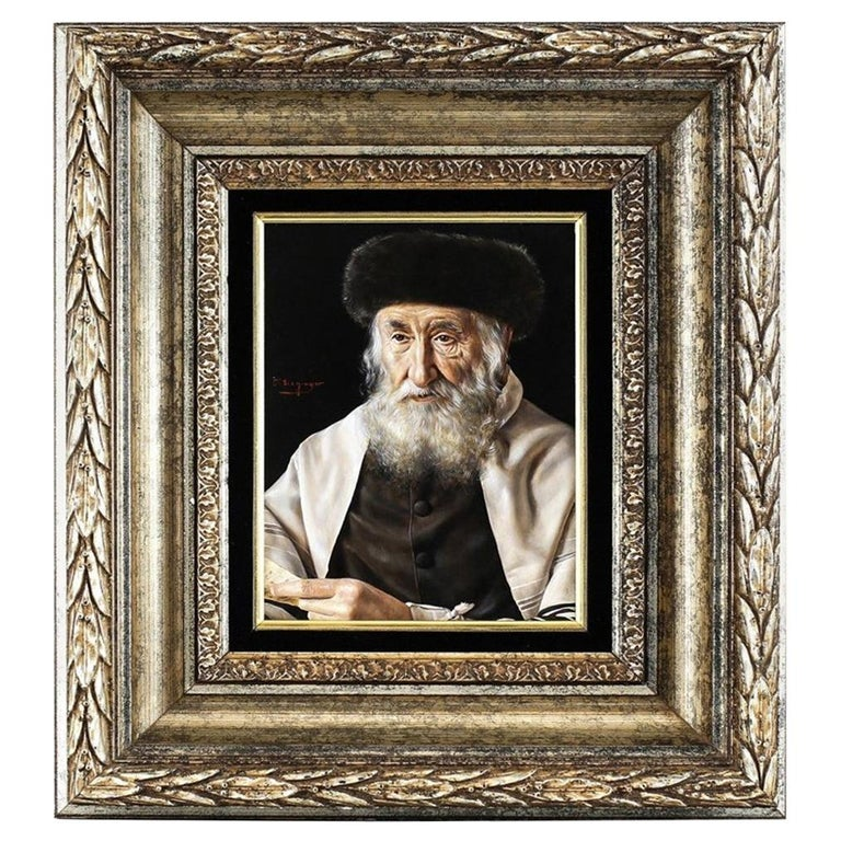 Oil Portrait Painting of a Rabbi by Otto Eichinger For Sale
