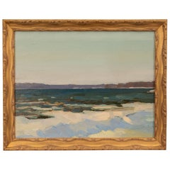 Oil Seascape Painting in Giltwood Frame