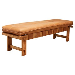 Oiled Oak and Tan Leather Ojai Bench by Lawson-Fenning