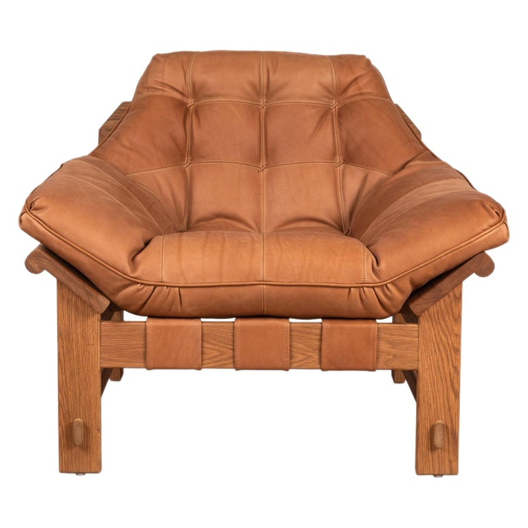 Oiled Oak and Tan Leather Ojai Lounge Chair by Lawson-Fenning For Sale