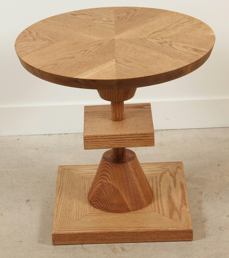 The Morro table features a series of geometric shapes stacked on top of each other with solid wood details. Available in American walnut or white oak. Shown here in oiled oak.   The Lawson-Fenning Collection is designed and handmade in Los