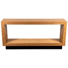 Oiled Oak Palisades Console with Blackened Brass Base by Lawson-Fenning