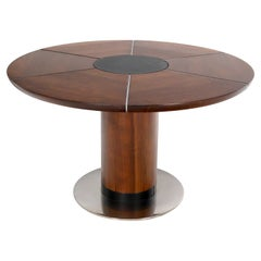 Oiled Thick Solid Walnut Slate & Stainless Steel Top Round Dining Dinette Table