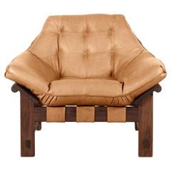 Oiled Walnut and Tan Leather Ojai Lounge Chair by Lawson-Fenning