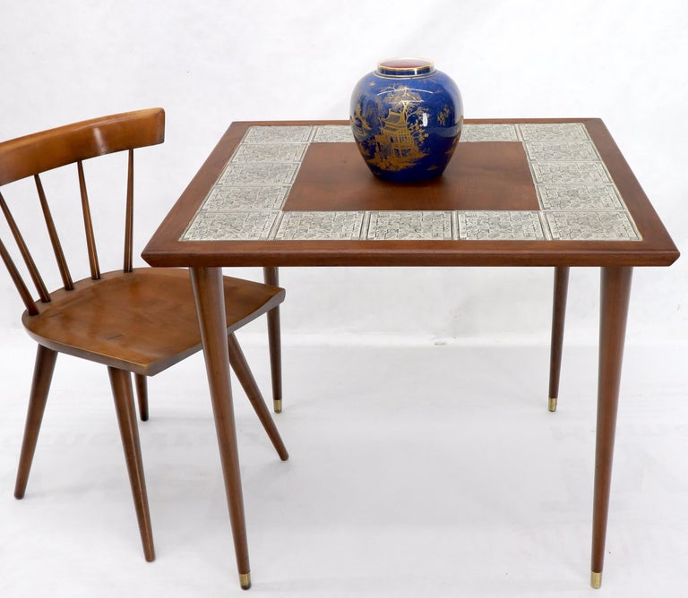 Midcentury Danish modern oiled walnut small dining game table.