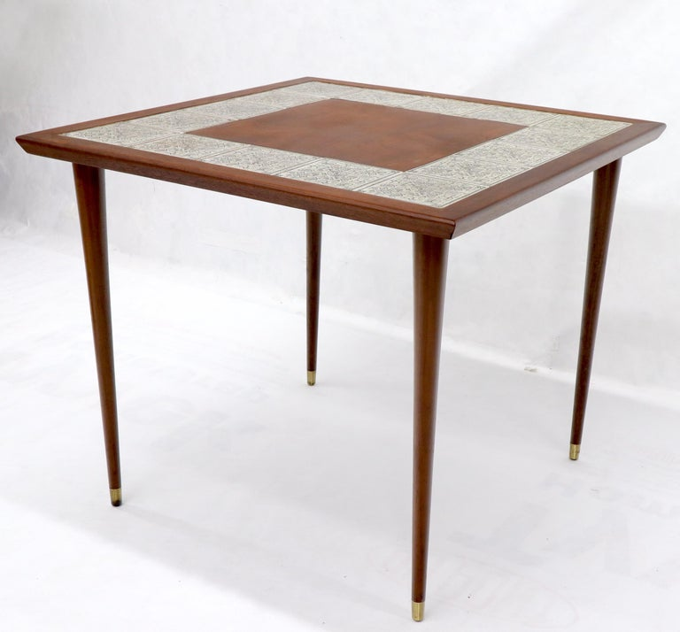 Mid-Century Modern Oiled Walnut Decorative Art Tile Top Game Table on Tapered Legs Brass Tips For Sale